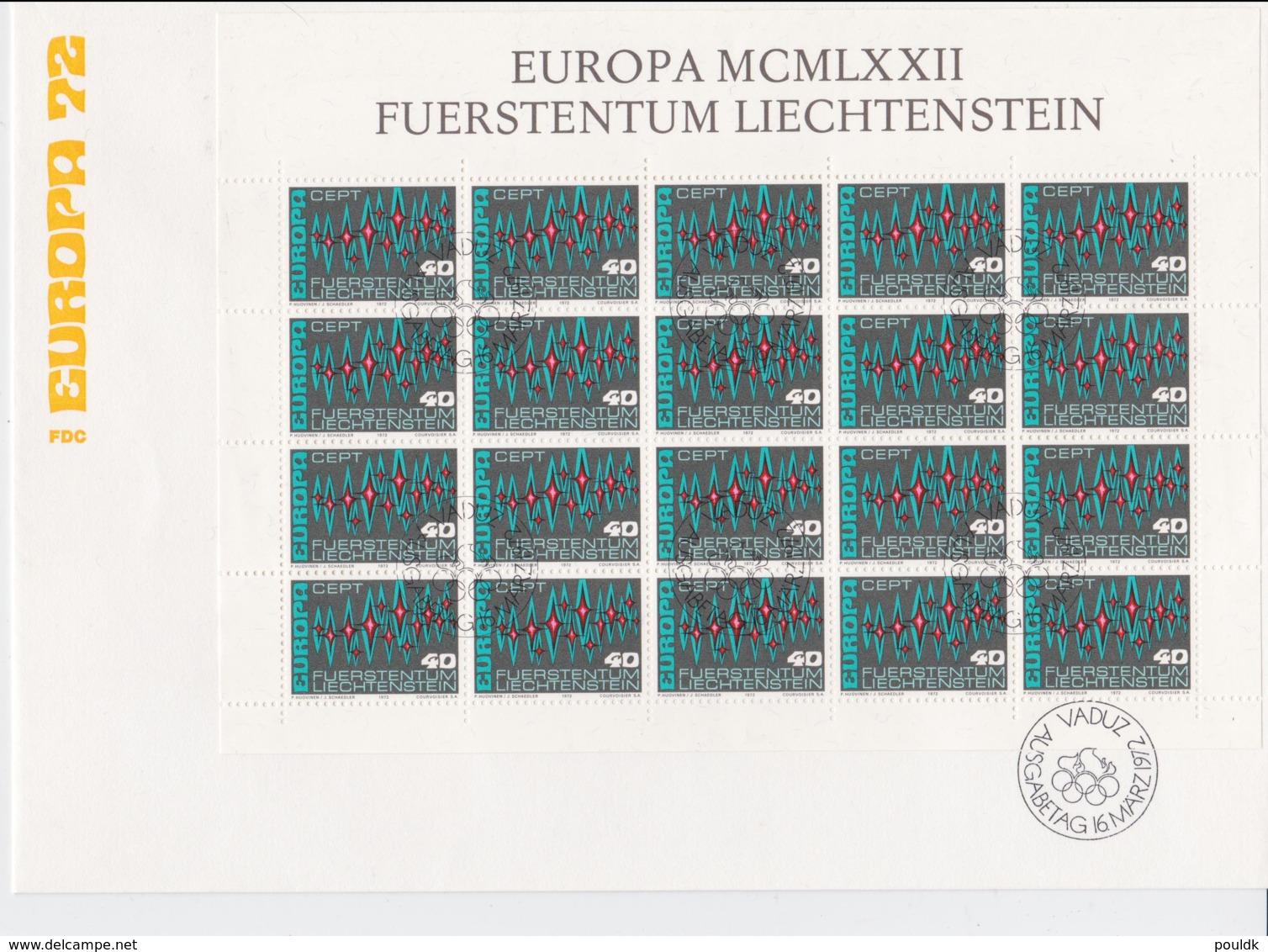 Liechtenstein 1972 FDC Europa CEPT Complete Sheet (LAR5-69) - 1972
