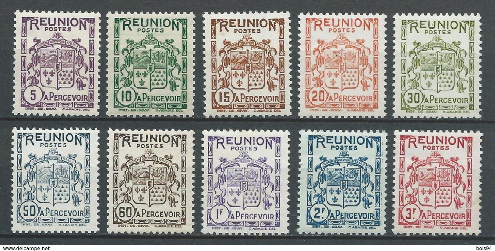 REUNION 1933 . Taxes . Série N°s 16 à 25 . Neufs ** (MNH) - Réunion (1852-1975)