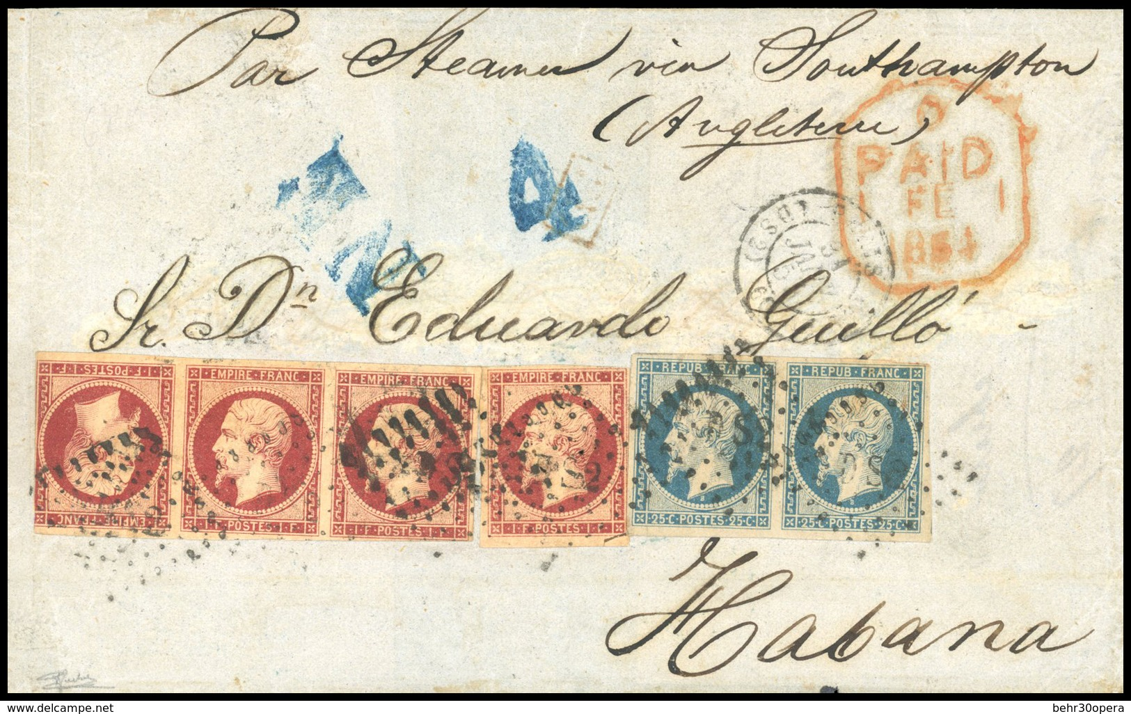 O N°1810, 1Fr. Carmin Bande De 3 Avec Tête-Bêche + 1 Unité + 25c. Présidence Obl. DS2 Sur Lettre Frappée Du CàD Du 31 JA - 1853-1860 Napoléon III
