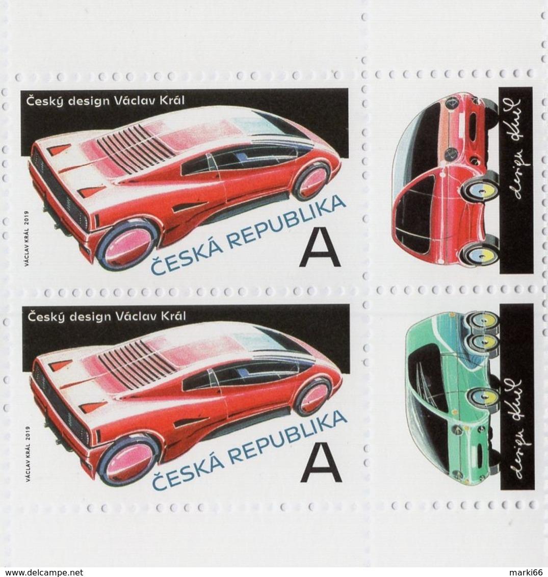 Czech Republic - 2019 - Czech Design - Václav Král - Mint Booklet Stamp Pair With Coupons (various Positions) - Tschechische Republik