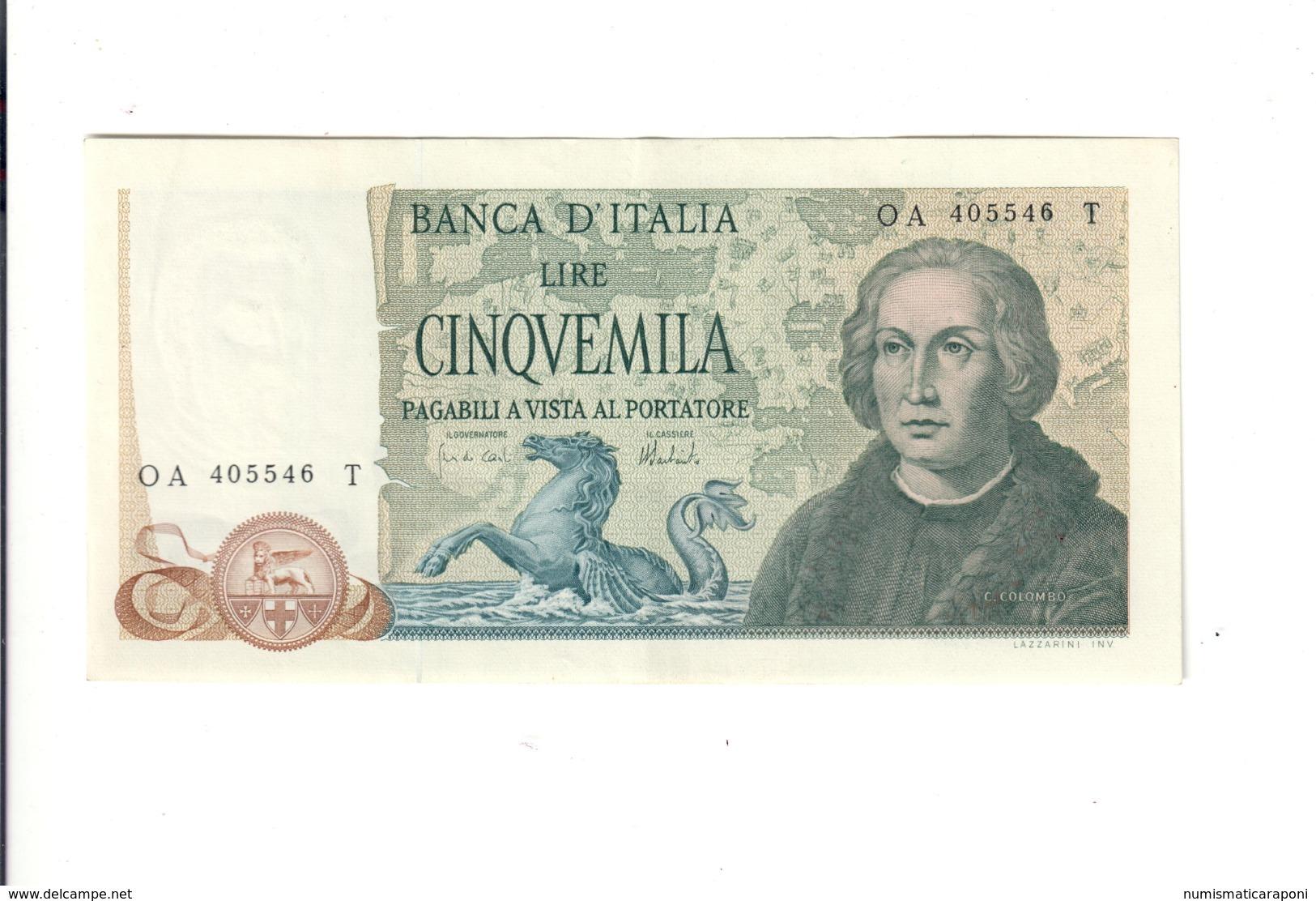 5000 Lire Colombo II° Tipo 3 Caravelle 11 04 1973 Spl+ Ottimo Biglietto LOTTO 2907 - [ 2] 1946-… : Repubblica