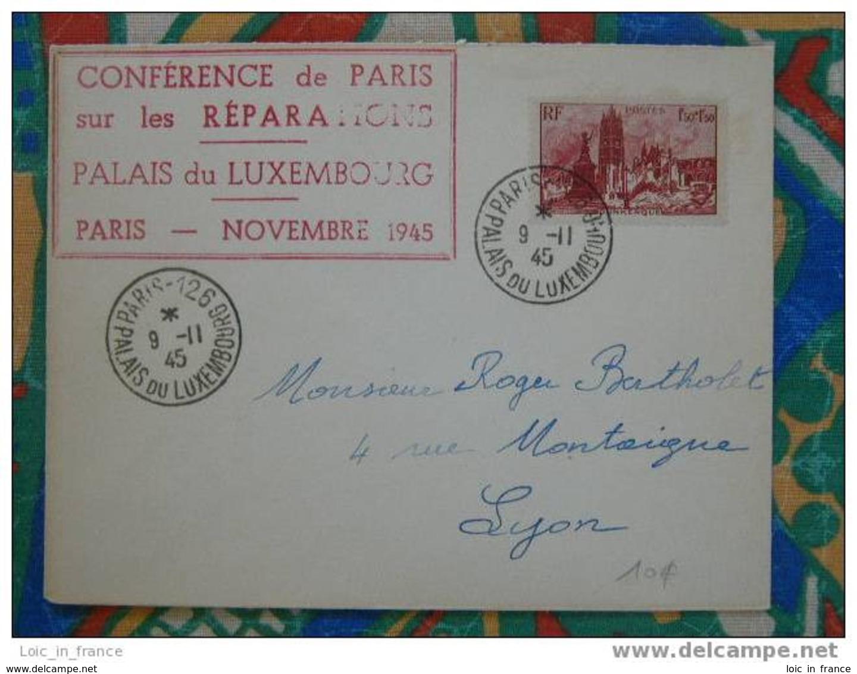 Lettre Conférence De Paris Sur Les Réparations Palais Du Luxembourg 1945 - Guerre De 1939-45