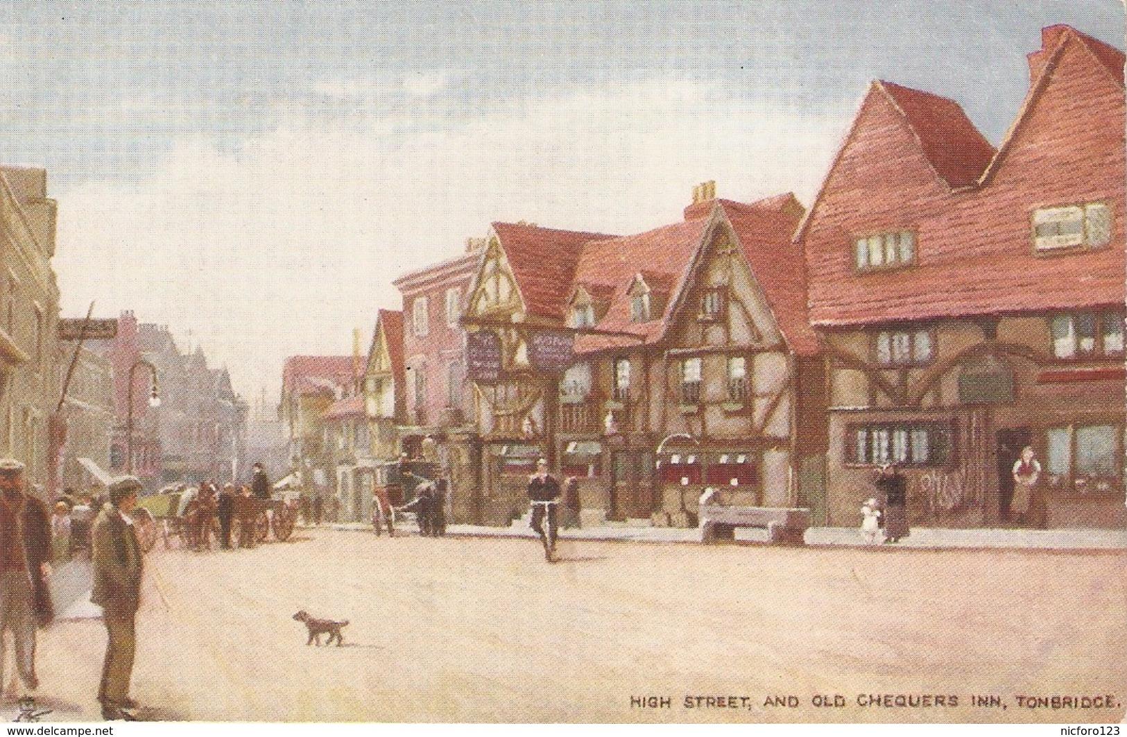 """Tonbridge. High Street And Old Chequers Inn"" Tuck Oilette Postcard # 7182 - Tuck, Raphael"