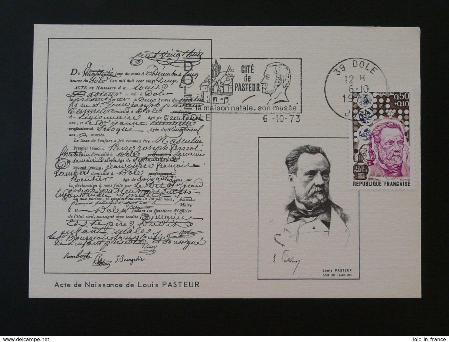 Carte Maximum Card Louis Pasteur Flamme Concordante Dole 39 Jura 1973 - Louis Pasteur