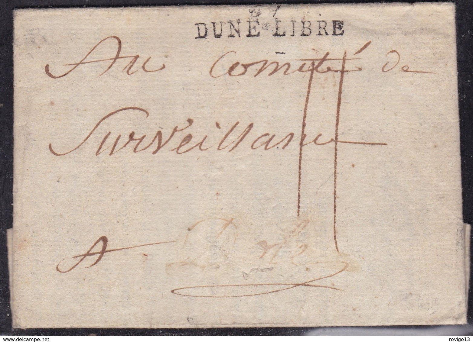 France, Nord - 57/Dune Libre, Nom Révolutionnaire De Dunkerque Sur Imprimé Du Comité Révoluti. De L' An 2 - Indice 17 - 1701-1800: Précurseurs XVIII