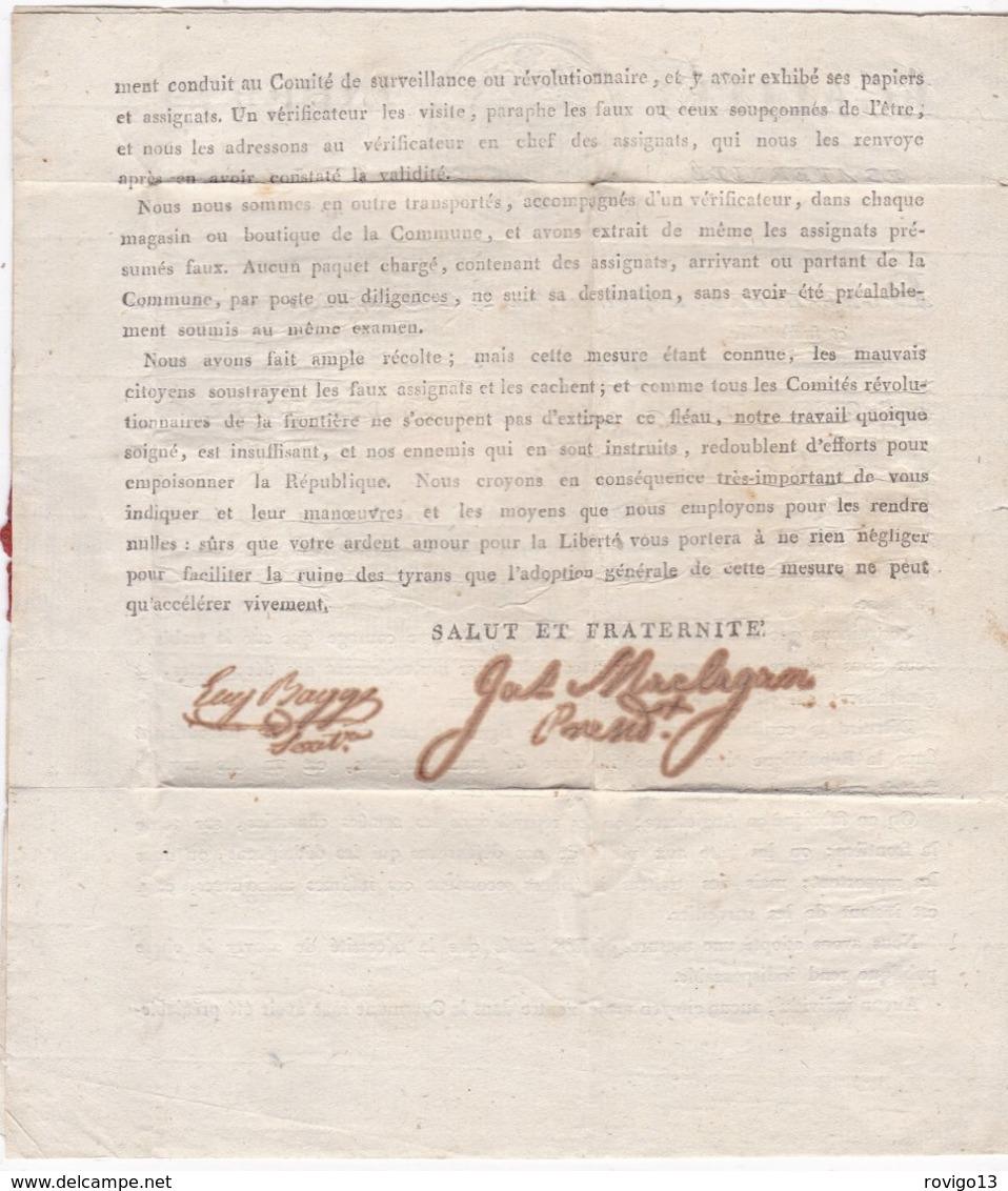 France, Nord - 57/Dune Libre, Nom Révolutionnaire De Dunkerque Sur Imprimé Du Comité Révoluti. De L' An 2 - Indice 17 - Marcophilie (Lettres)