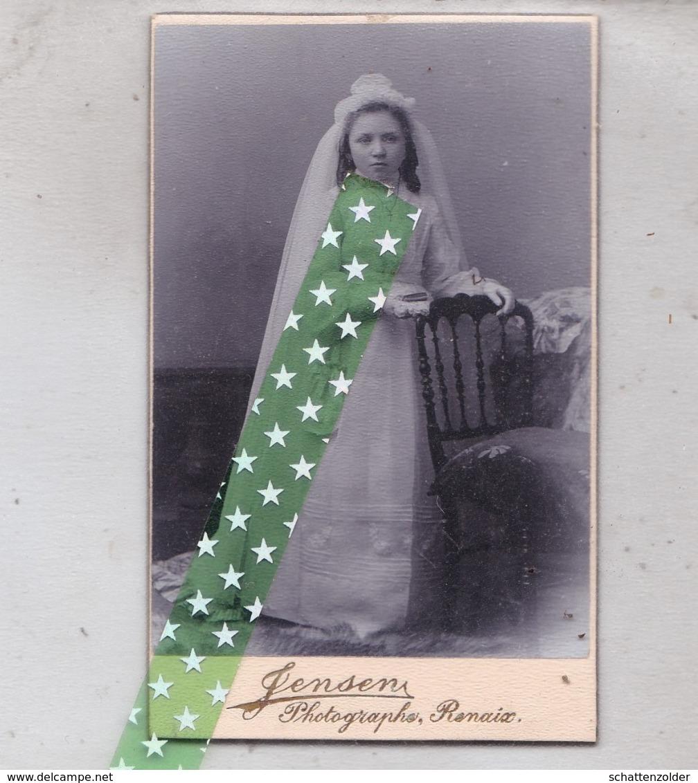 Card De Visite, Visitekaart Fotograaf Jensen, Ronse, Renaix, Stationstraat. Grootte 6cm Op 10cm - Photos
