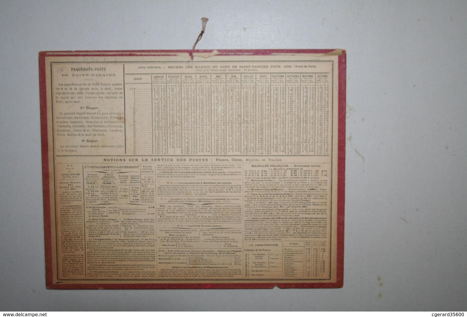 Almanach   - 1899 - Cyclistes Et Taureau - Calendari