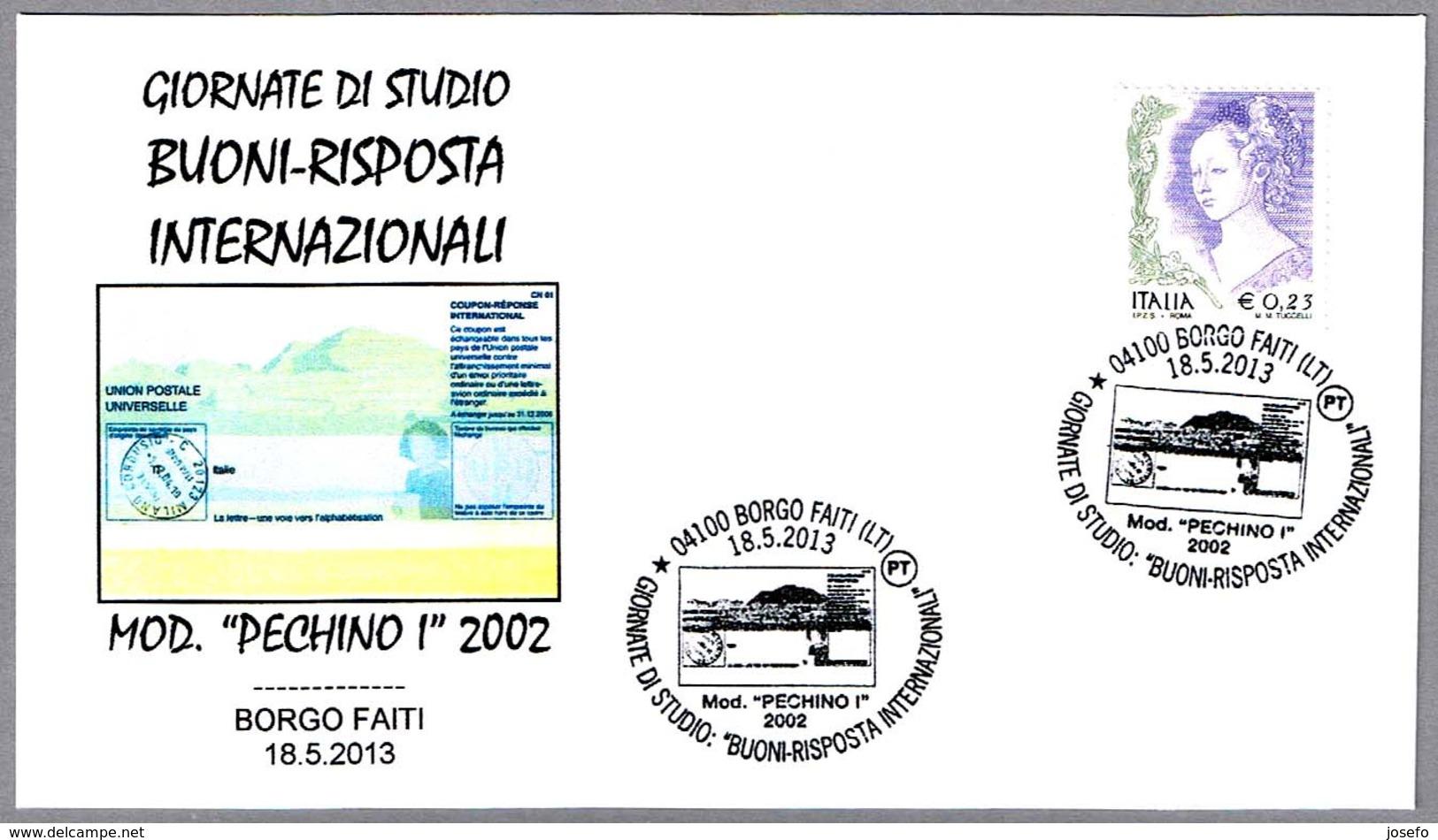 CUPON-RESPUESTA INTERN. - Int. Reply-coupon - Coupon-reponse Int. Borgo Faiti, Latina, 2013 - Correo Postal