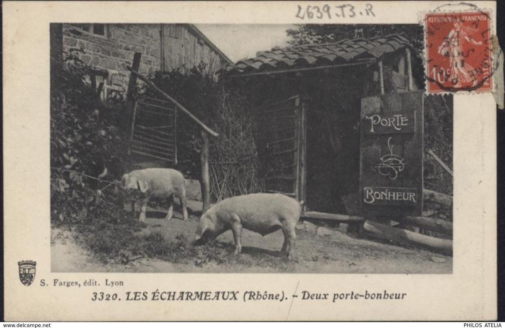 CPA 3320 Les écharmeaux Rhône 69 Deux Porte-bonheur Cochons Porc S Farges édit Lyon Voyagée 1911 - Francia