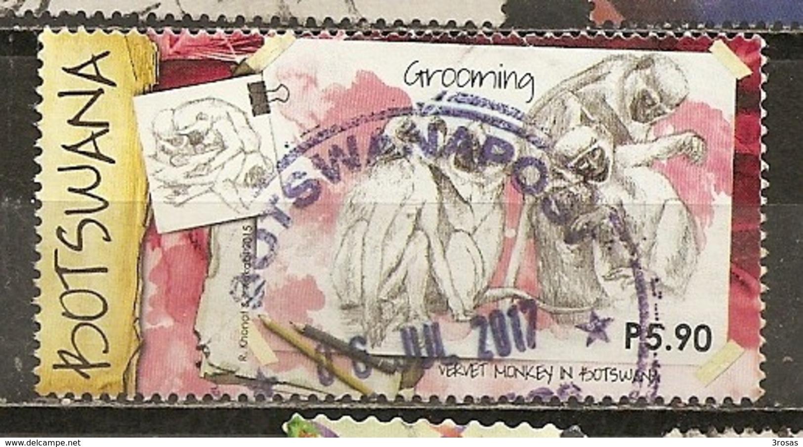 Botswana 2017 Singes Monkeys Obl (has Diagonal Fold) - Botswana (1966-...)