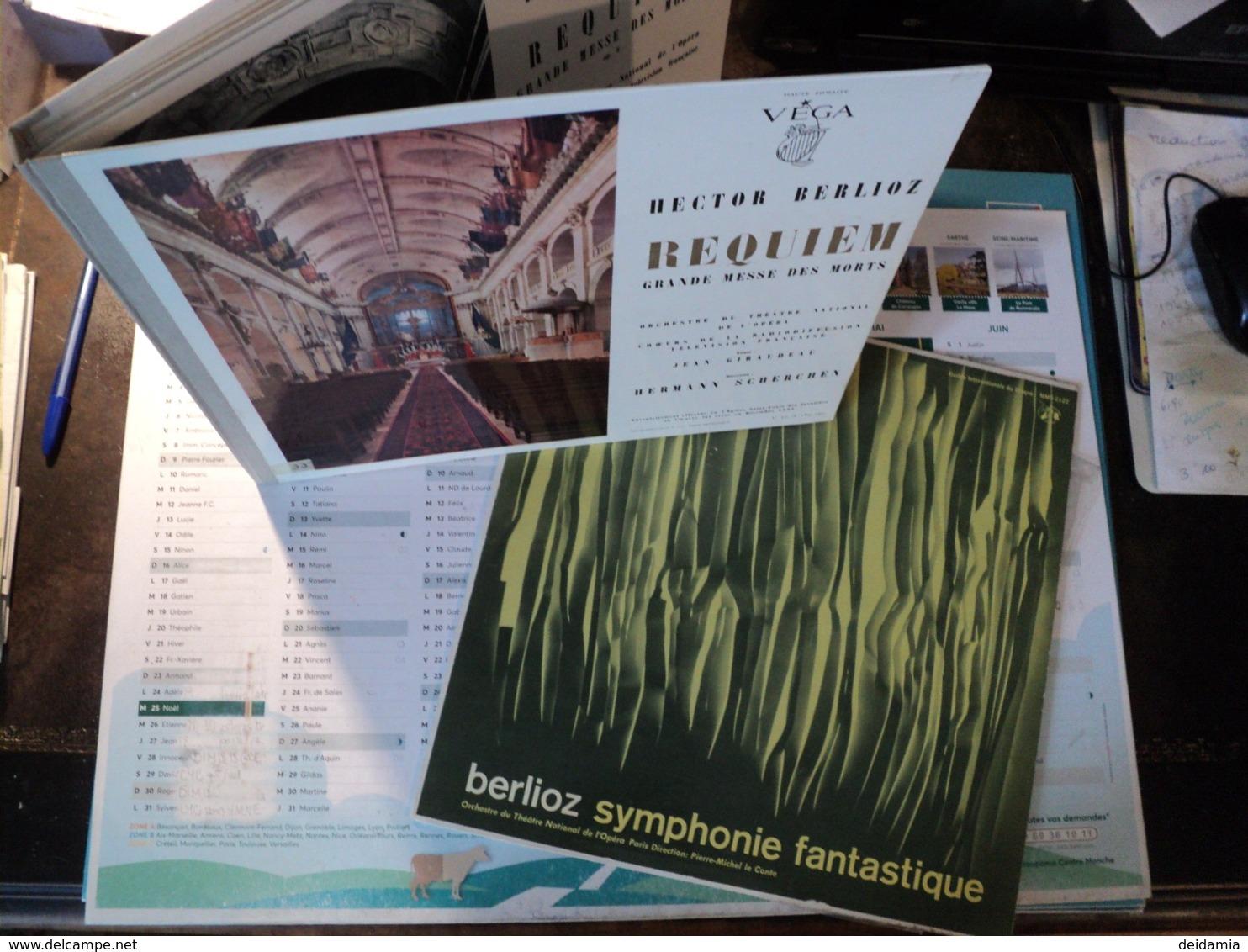 HECTOR BERLIOZ. LOT D 1 COFFRET DEUX 33 TOURS ET D UN 33 TOURS. 1959  SYMPHONIE FANTASTIQUE / REQUIEM GRANDE MESSE DES - Klassik