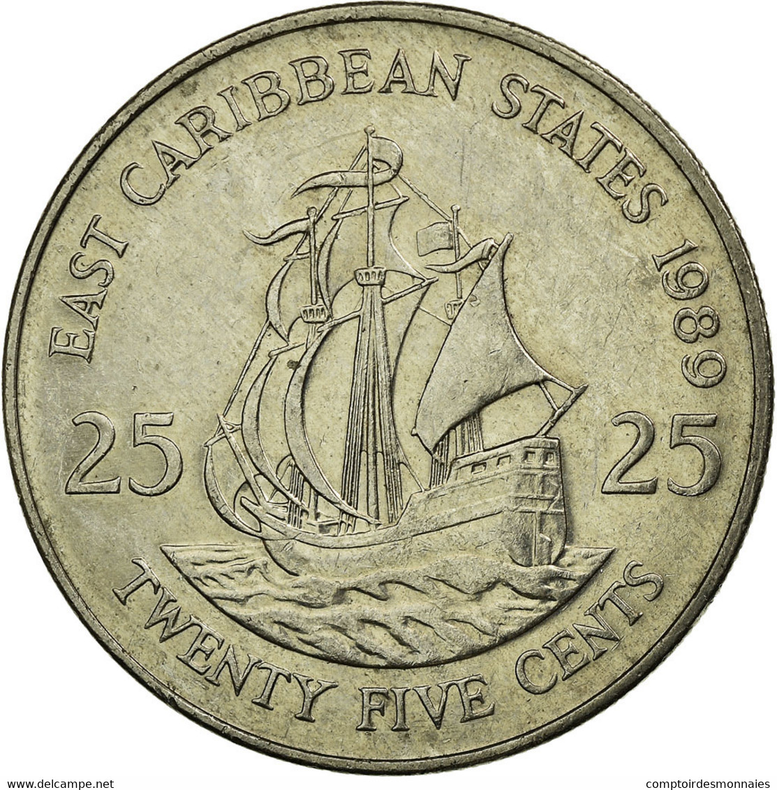 Monnaie, Etats Des Caraibes Orientales, Elizabeth II, 25 Cents, 1989, TTB - Caribe Oriental (Estados Del)