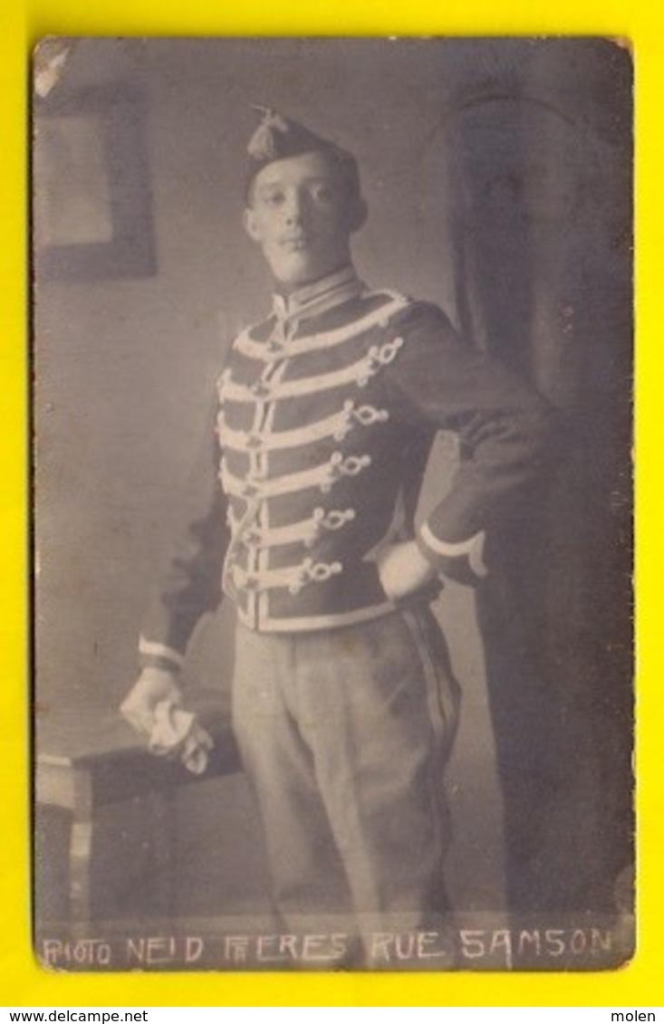 UNIFORME LANCIER BELGE CAVALERIE CARTE PHOTO 1913 RUE SAMSON MONS FOTOKAART LANSIER MILITAIRE ARMEE CAVALIER FOTO 3424 - Mons