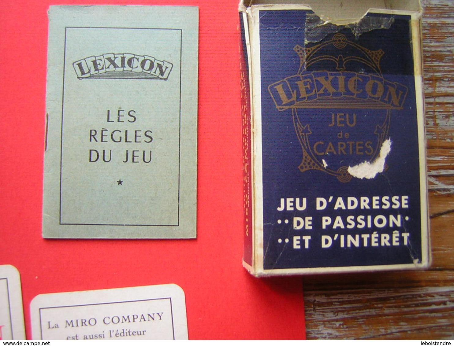 LEXICON  JEU DE 52  CARTES AVEC SA REGLE DU JEU+ 3 CARTES PUB SON CARTONNAGE  LA MIRO COMPANY EDITEUR DU MONOPOLY - Spielkarten