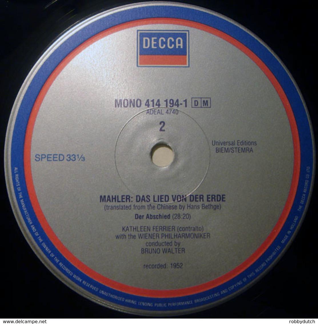 * LP * MAHLER : DAS LIED VON DER ERDE - KATHLEEN FERRIER / WIENER PHILHARMONIKER / WALTER - Klassiekers