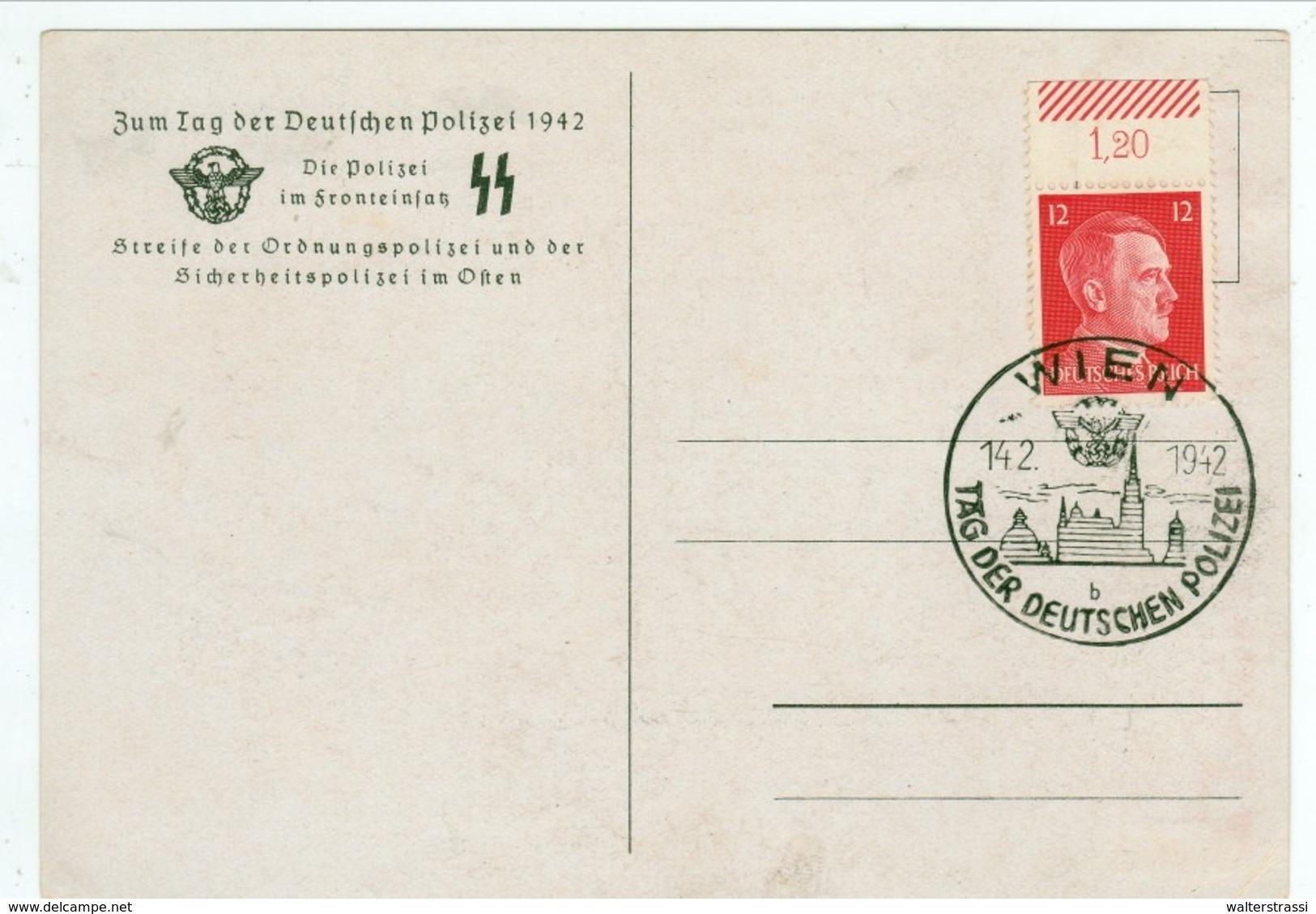 Propaganda Karte, DIE POLIZEI IM FRONTEINSATZ, SS - Tag Der Deutschen Polizei, Wien - Weltkrieg 1939-45