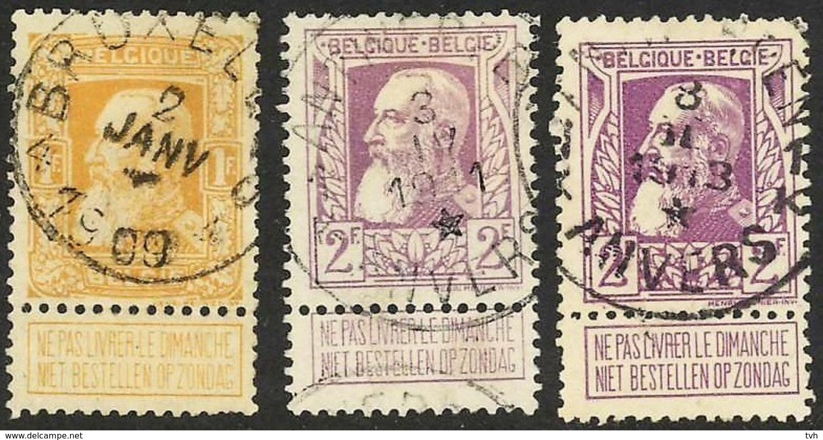Zegel N°79 Bruxelles 4 Met Ster / 2 Zegels N° 80 Antwerpen/Anvers 1K Met Ster Op De 4e Plaats - 1905 Grosse Barbe