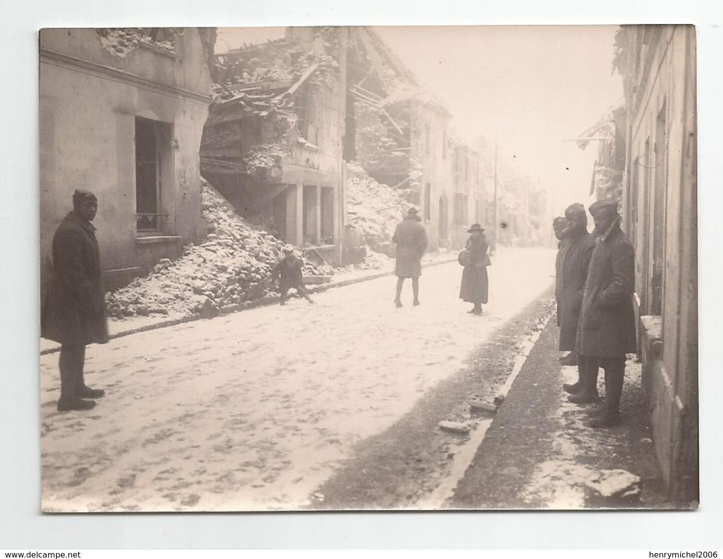 Photographie 02 Aisne Mont St Père Sodats Noirs Américains   En 1919 Photo 8,5x11,5 Cm Env - Lieux