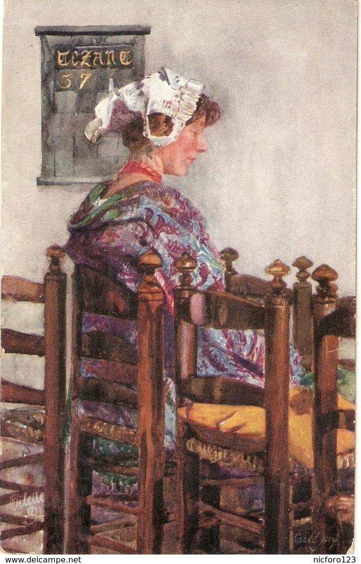 """Cecil Jay. Sunday Morning"" Tuck Oilette Connoisseur Picturesque Hollsnd Ser. PC # 2973 - Tuck, Raphael"
