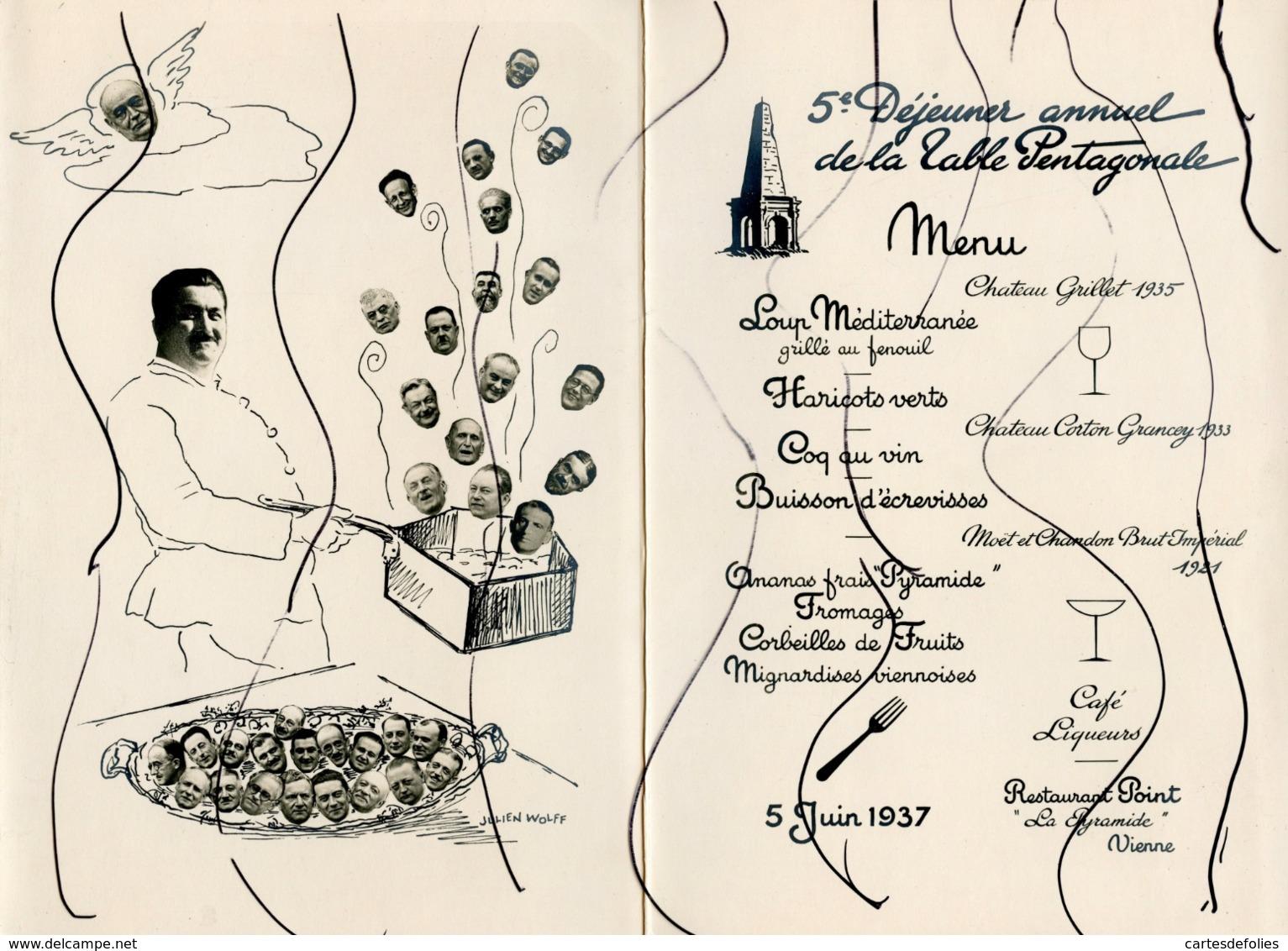 MENU. VIENNE. Restaurant POINT. 5e Déjeuner Annuel De La Table Pentagonale. 5 Juin 1937 . - Menus