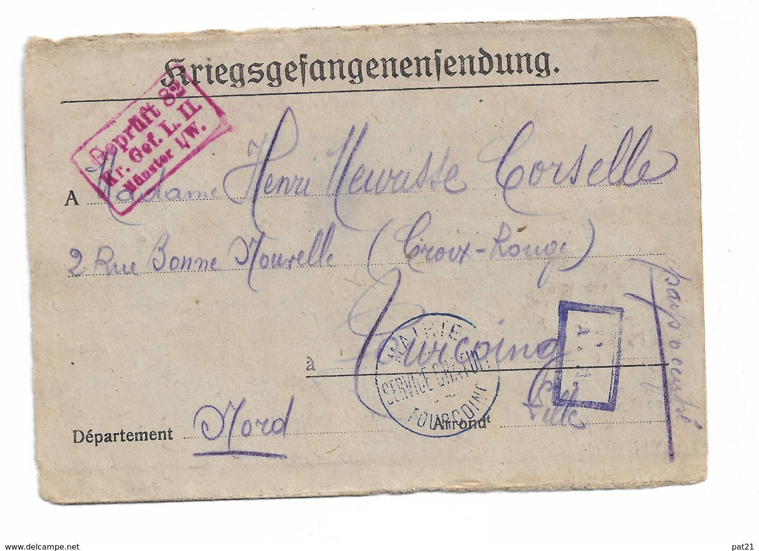 """Lettre Prisonnier De Guerre  Du Camp De Munster   """"mairie De Tourcoing Service Gratuit"""" 26 Mai 1918 - Postmark Collection (Covers)"""