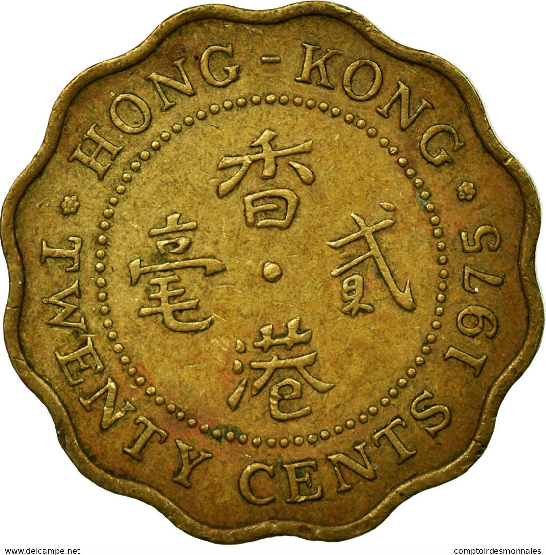 Monnaie, Hong Kong, Elizabeth II, 20 Cents, 1975, TTB, Nickel-brass, KM:36 - Hong Kong
