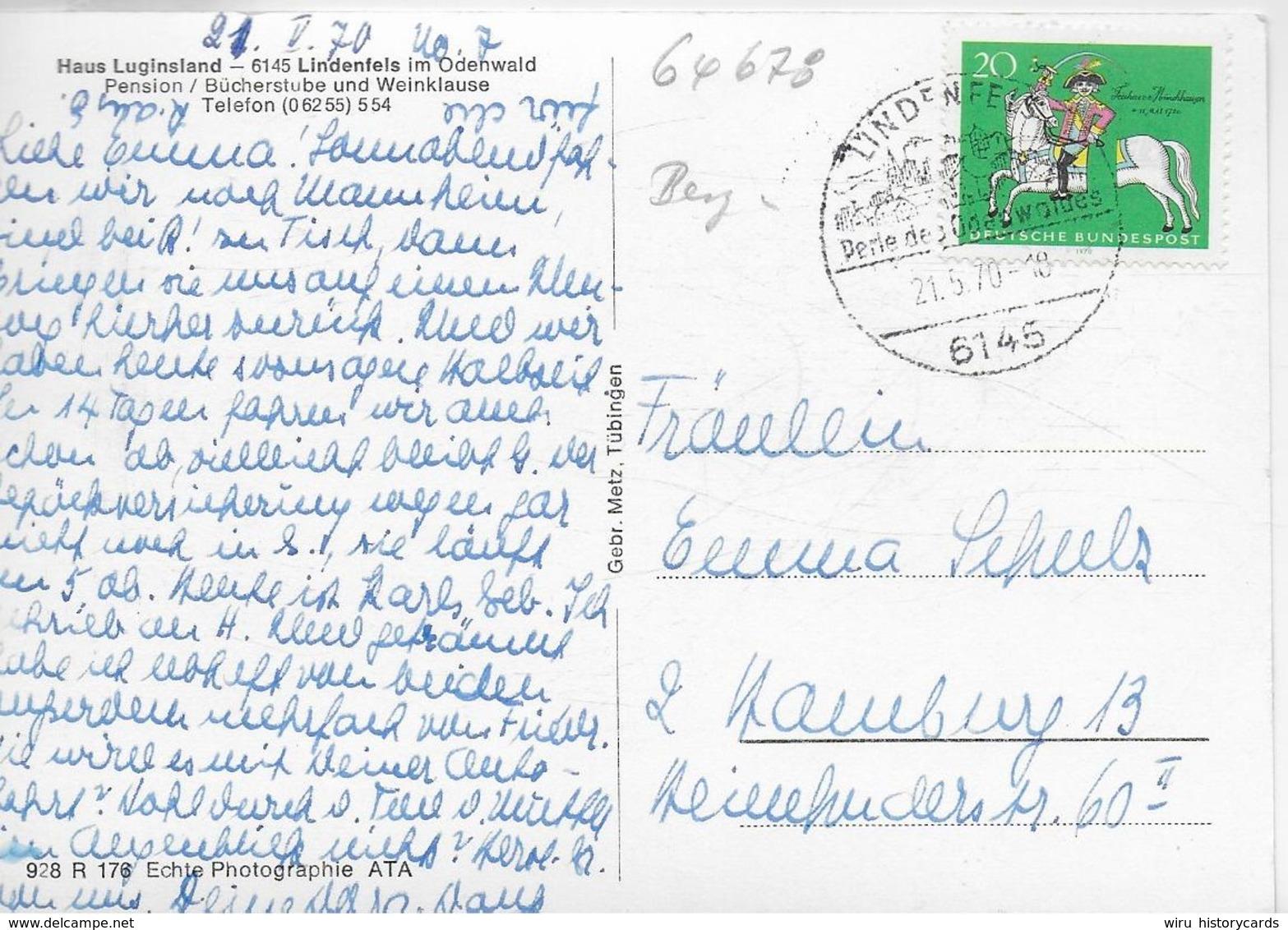 AK 0324  Lindenfels Im Odenwald - Haus Luginsland / Verlag Metz Um 1960-70 - Heppenheim