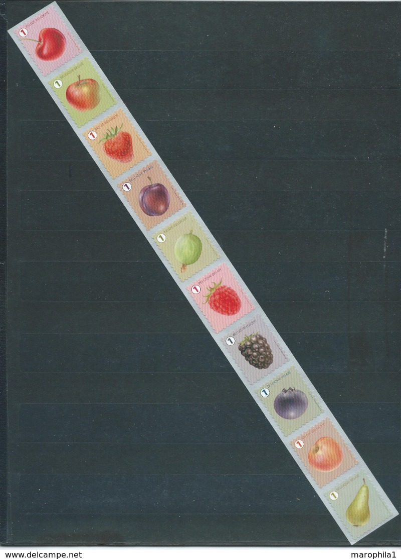 Timbres Rouleaux Par 10 Rolzegels Fruits Grande Dentelure Grote Tanding VF 9,2 € - Rouleaux