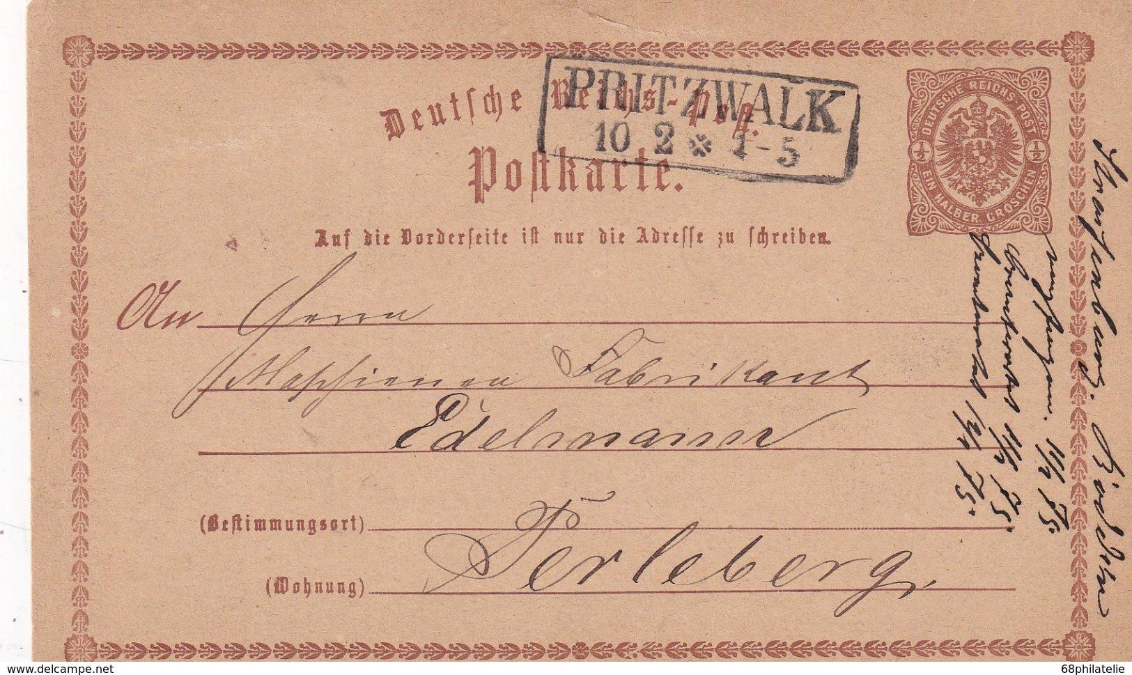 ALLEMAGNE 1875   ENTIER POSTAL/GANZSACHE/POSTAL STATIONERY  CARTE DE PINTZWALK - Deutschland