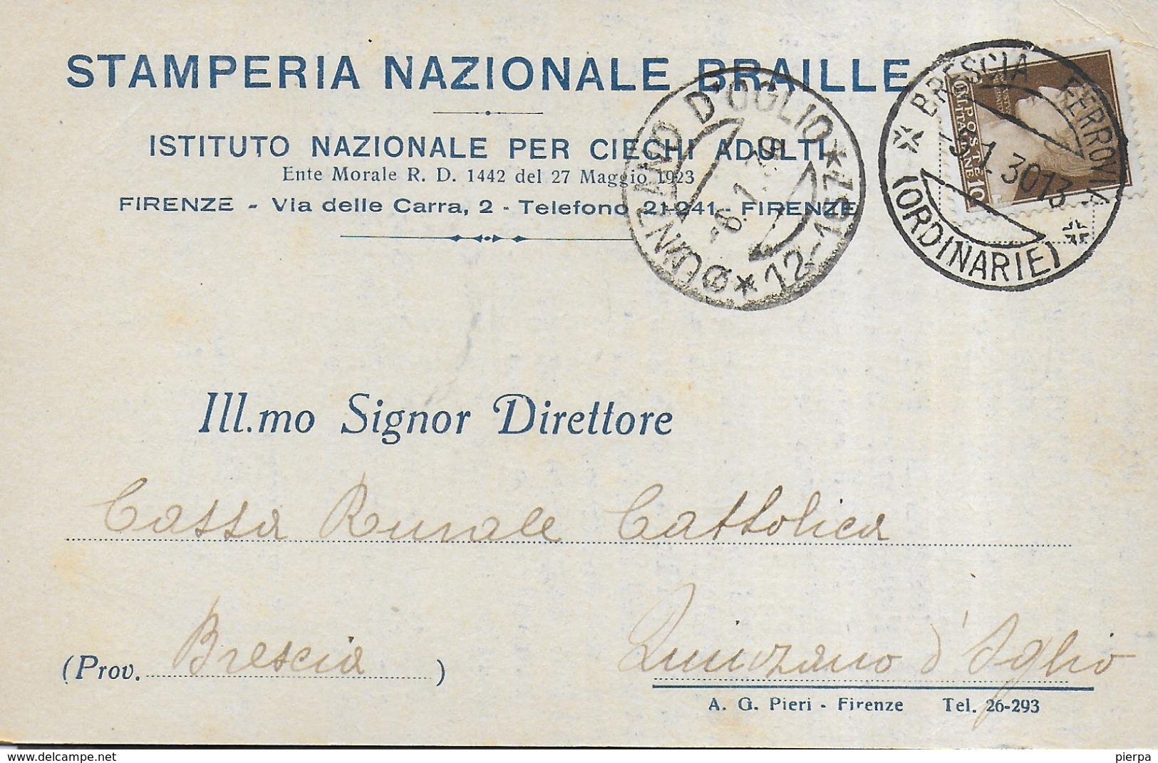 STORIA POSTALE REGNO - ANNULLO FRAZIONARIO DC - QUINZANO D'OGLIO (12-167) 06.01.1930 SU CARTOLINA INTESTATA DA BRESCIA - 1900-44 Victor Emmanuel III