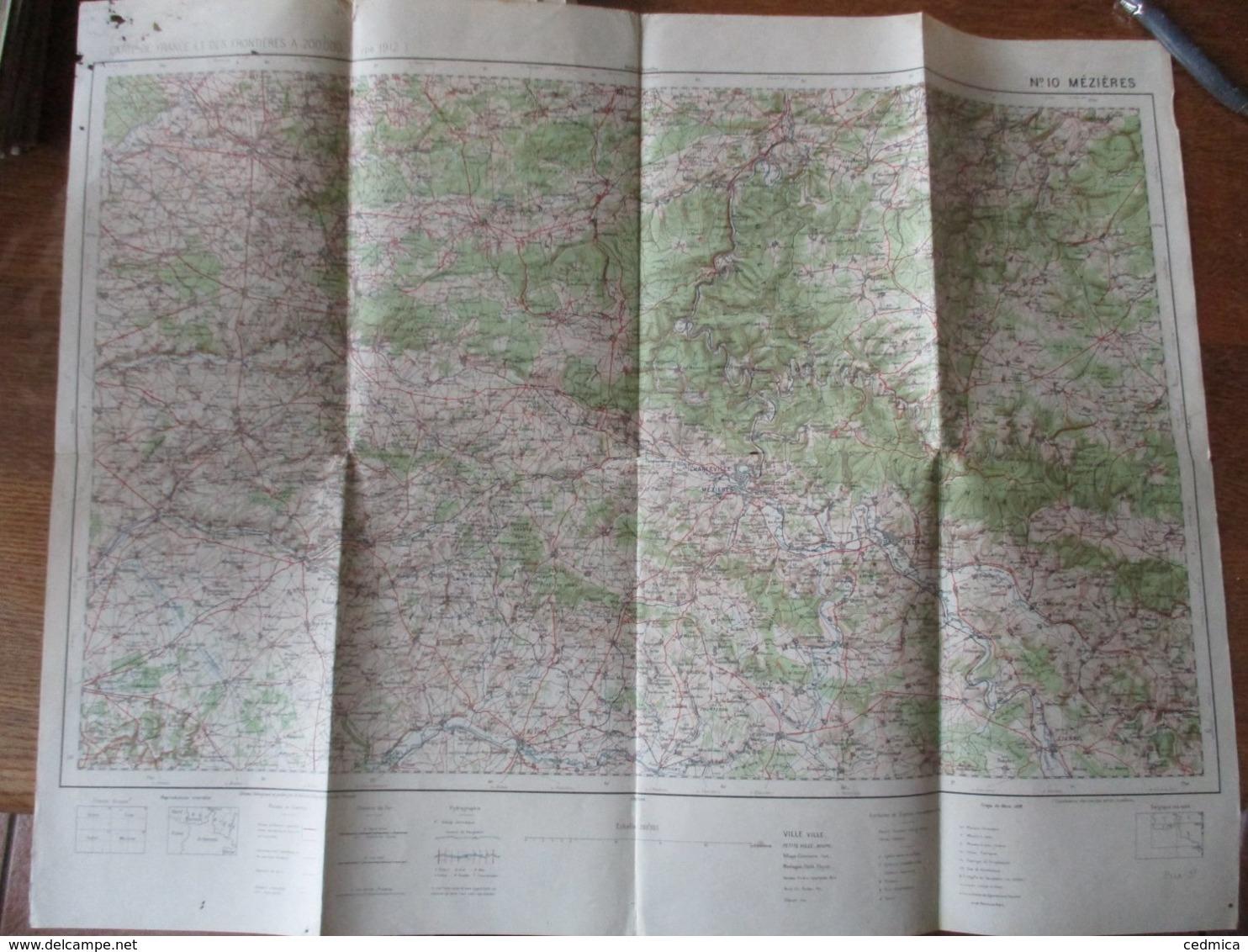 MEZIERES N° 10 TIRAGE DE MARS 1926 68cm/53cm CARTE DE FRANCE ET DES FRONTIERES A 1/200 000 (TYPE 1912) - Topographical Maps