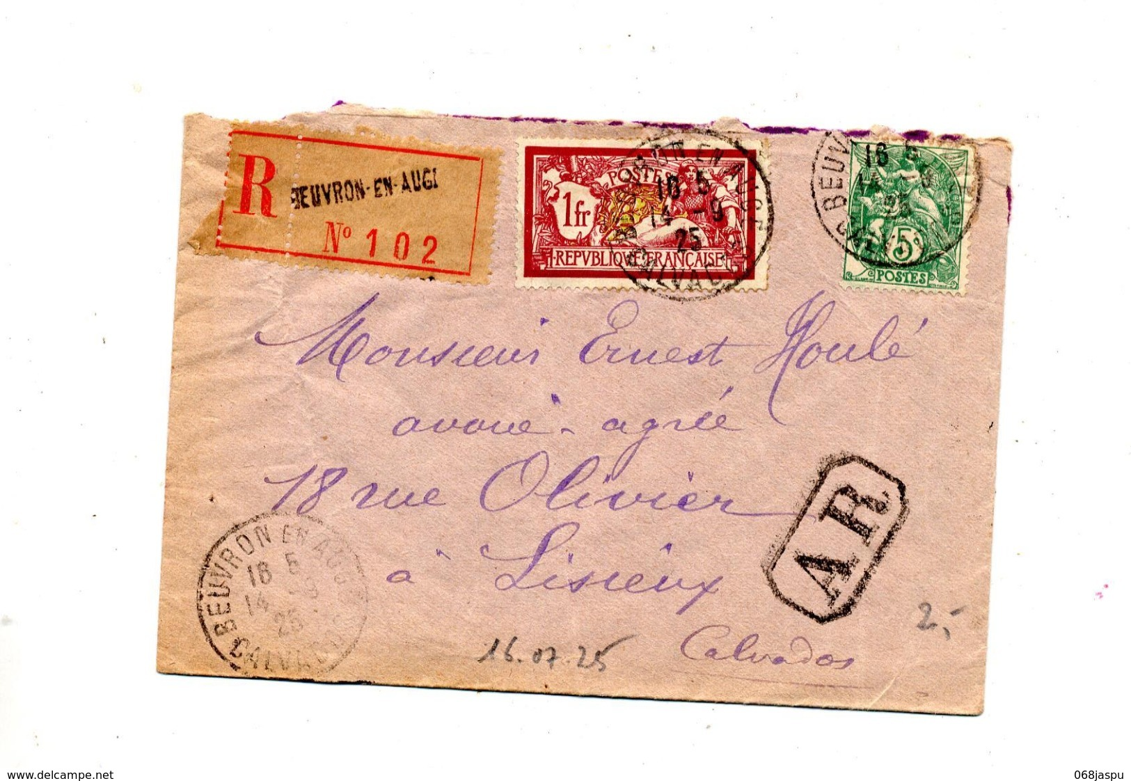 Lettre Recommandée Beuvron Sur Merson Blanc - Marcophilie (Lettres)