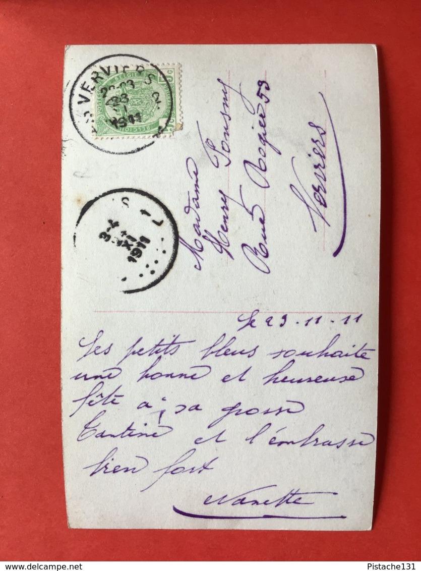 1911 - BONNE FETE - VERLEGEN MEISJE MET BLOEMEN - FILLETTE AVEC FLEURS - Anniversaire