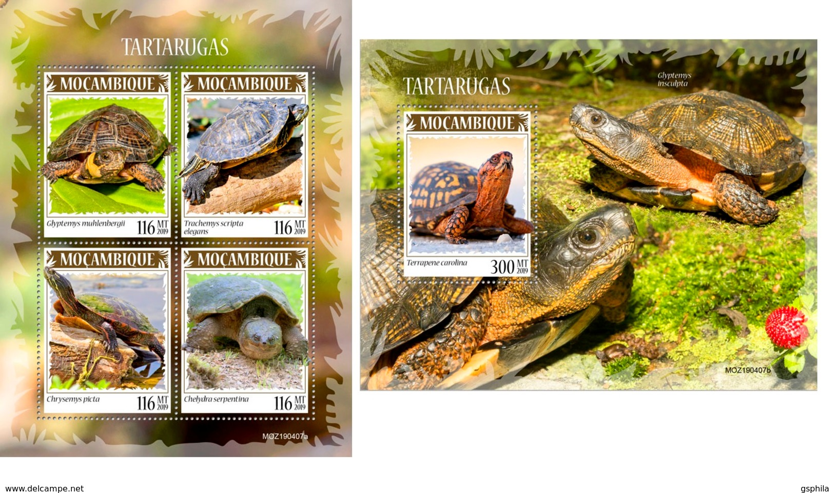 Mozambique 2019 Turtles Fauna Turtle MS+S/S MOZ190407 - Sellos