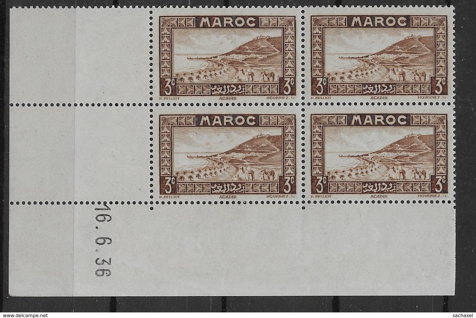 1933-34 Maroc N° 130 Nf** MNH. ' Bloc Coin Daté 16. 6. 36 ). Rade D'Agadir - Marokko (1891-1956)