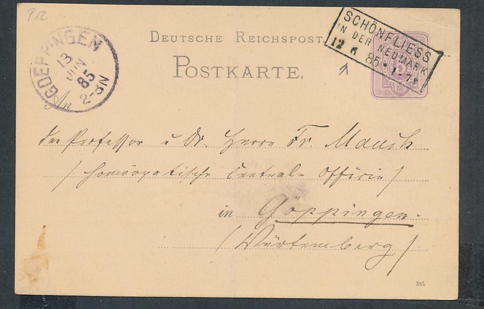 D.-Reich GS Heimat Beleg-Schönflies... (op823  ) Siehe Scan - Duitsland