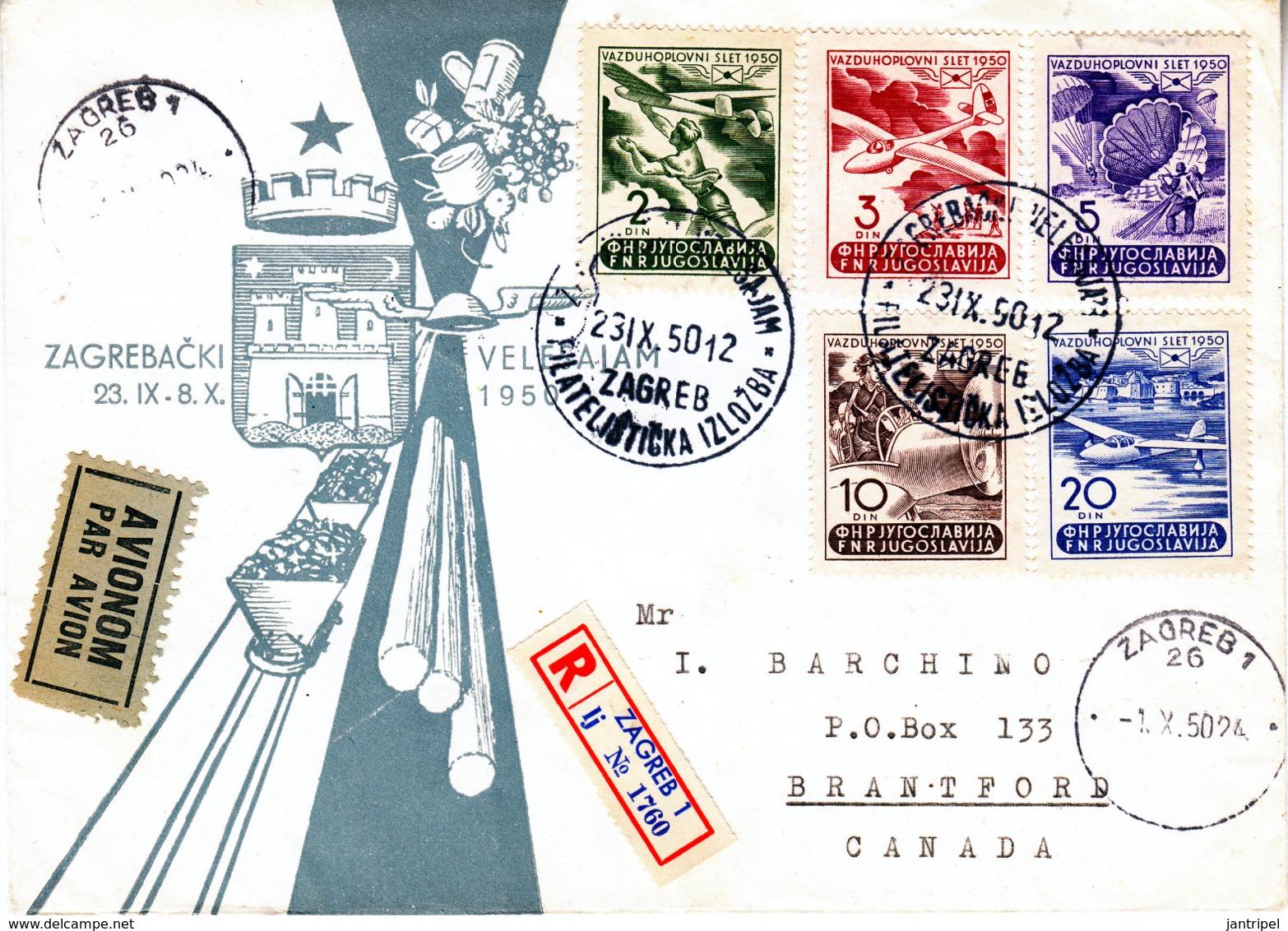 YUGOSLAVIA  1950 AIR  SET On REGISTERED  FDC  AIRCOVER - 1945-1992 Socialist Federal Republic Of Yugoslavia