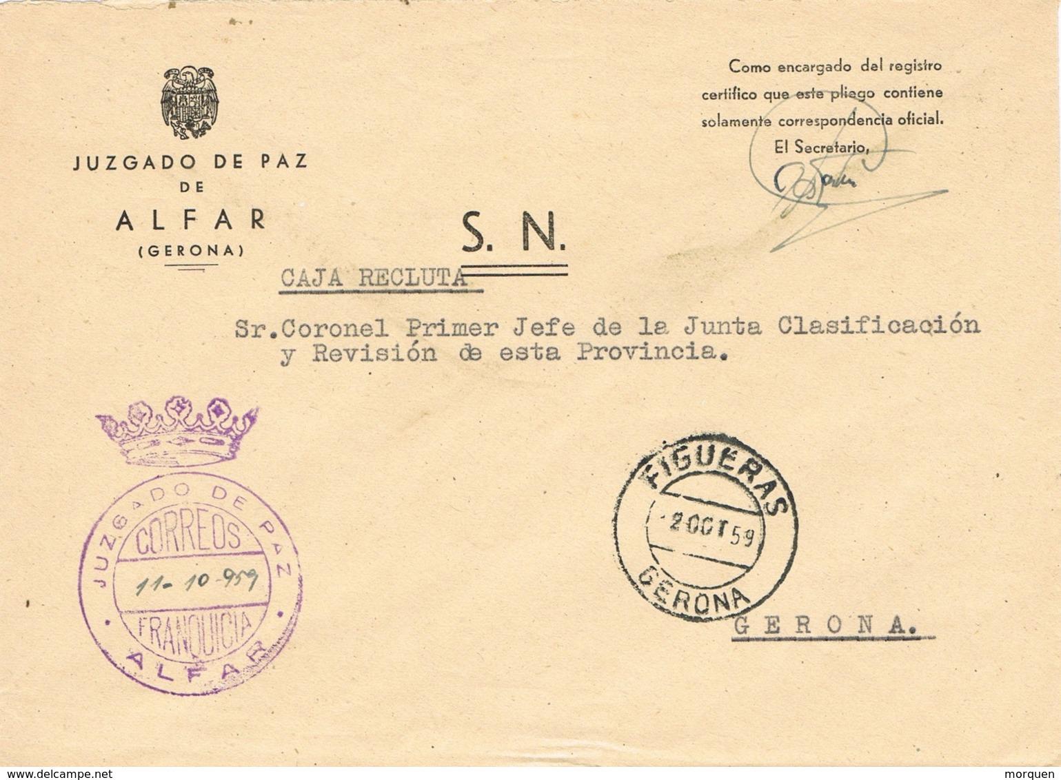 34090. Carta S.N. Franquicia Juzgado De Paz ALFAR (Gerona) 1959. Fechador Transito Figueras - 1931-Hoy: 2ª República - ... Juan Carlos I