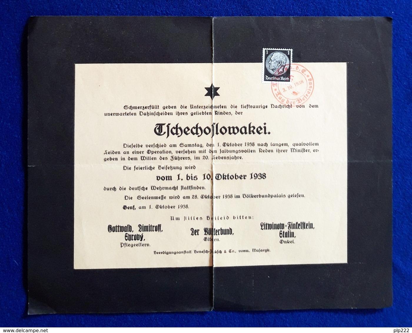 Germania Reich Volantino Di Propaganda / Propaganda Flyer 3/10/1938 VF/F - Germania