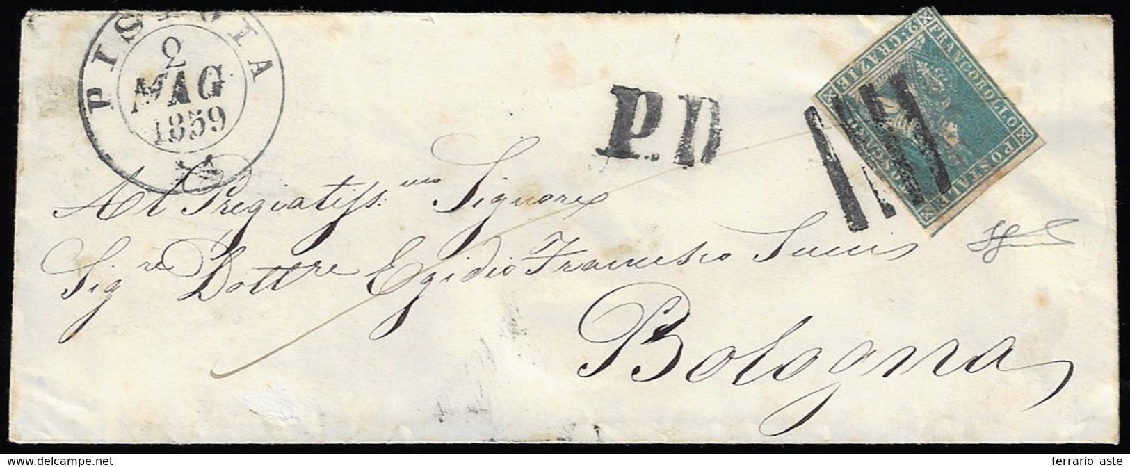 1859 - 2 Crazie Azzurro, II Emissione (13), Sfiorato In Basso, Isolato Su Busta Da Pistoia 2/5/1859 ... - Toscana