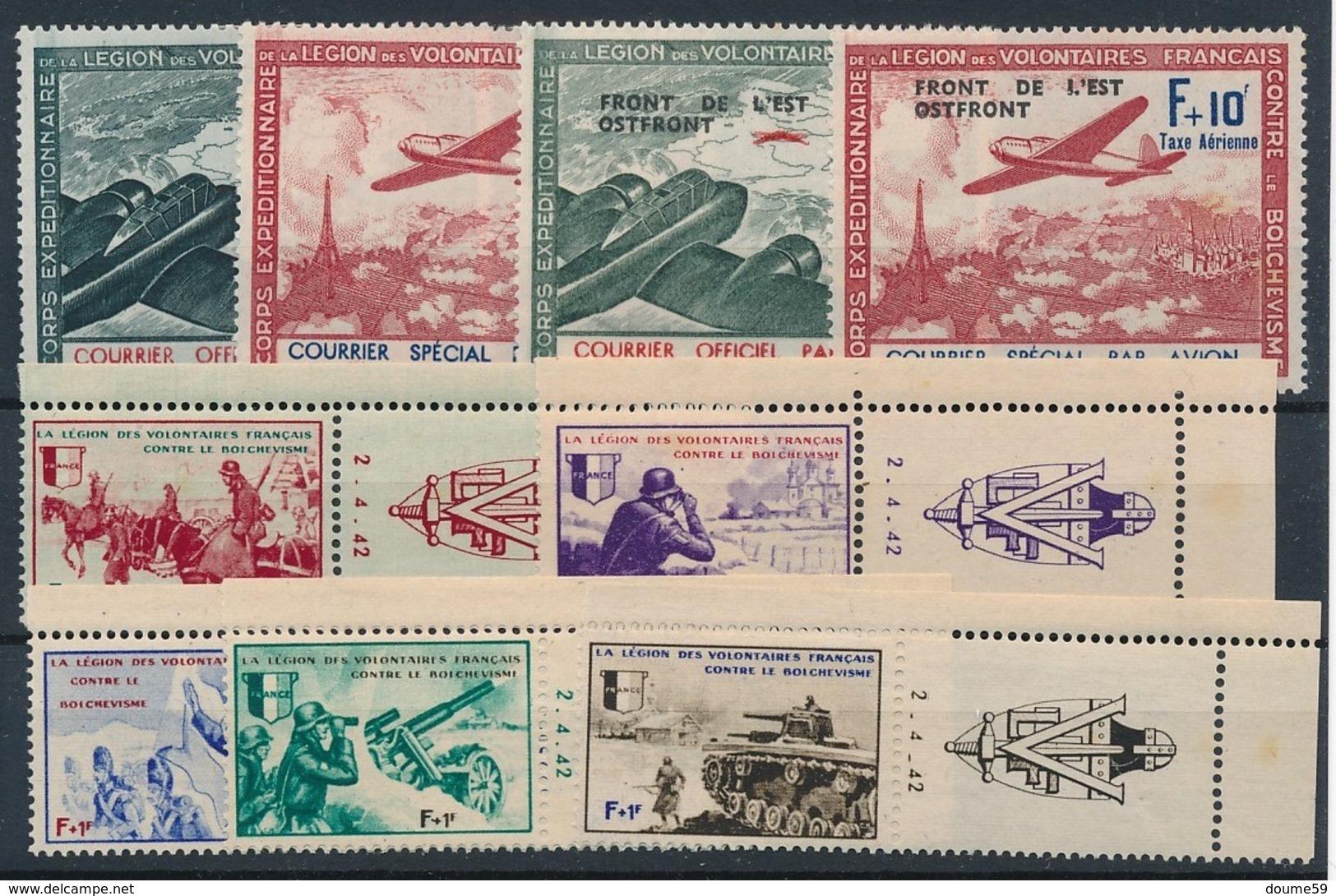 DB-250: FRANCE: Lot  LVF N°2*-3*-4**-5**-6/10** Avec Vignettes Datées - Guerres