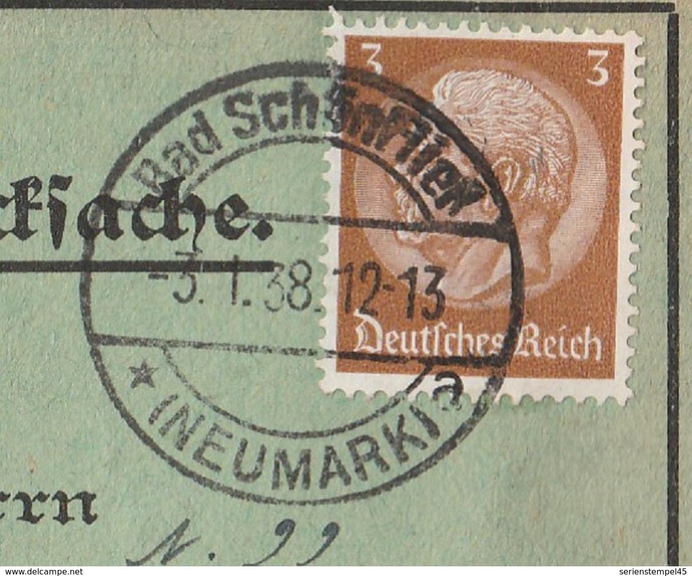 Brandenburg Deutsches Reich Karte Mit Tagesstempel Bad Schönfließ Kreis Königsberg Neumark 1938 Trzcinsko Zdrog - Deutschland