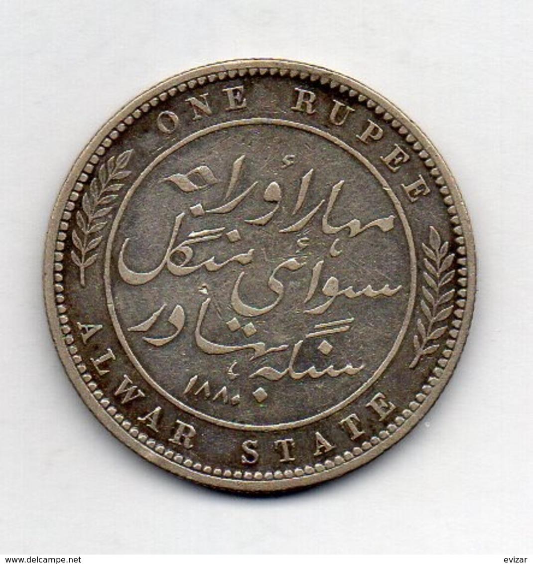 INDE - ALWAR, 1 Rupee, Silver, 1880, KM #45 - Inde
