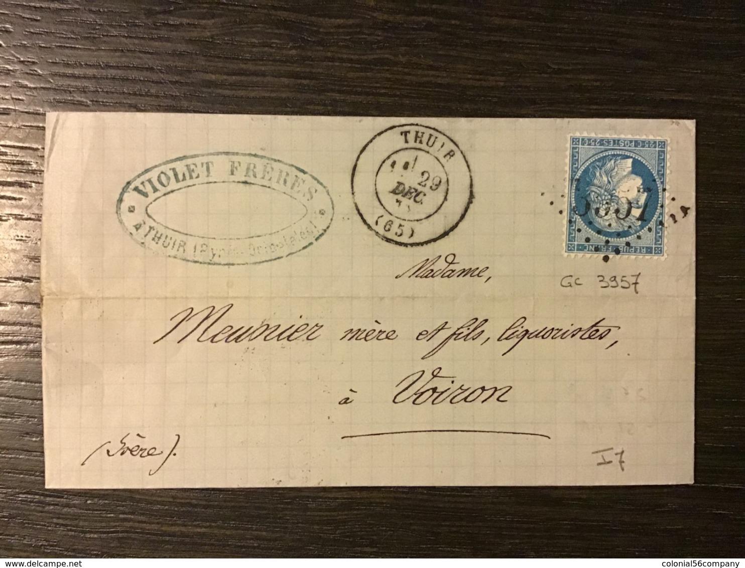 N°60 GC 3957 + T.17 THUIR (65) / Lettre (1872). PYRÉNÉES ORIENTALES. TB - 1849-1876: Période Classique