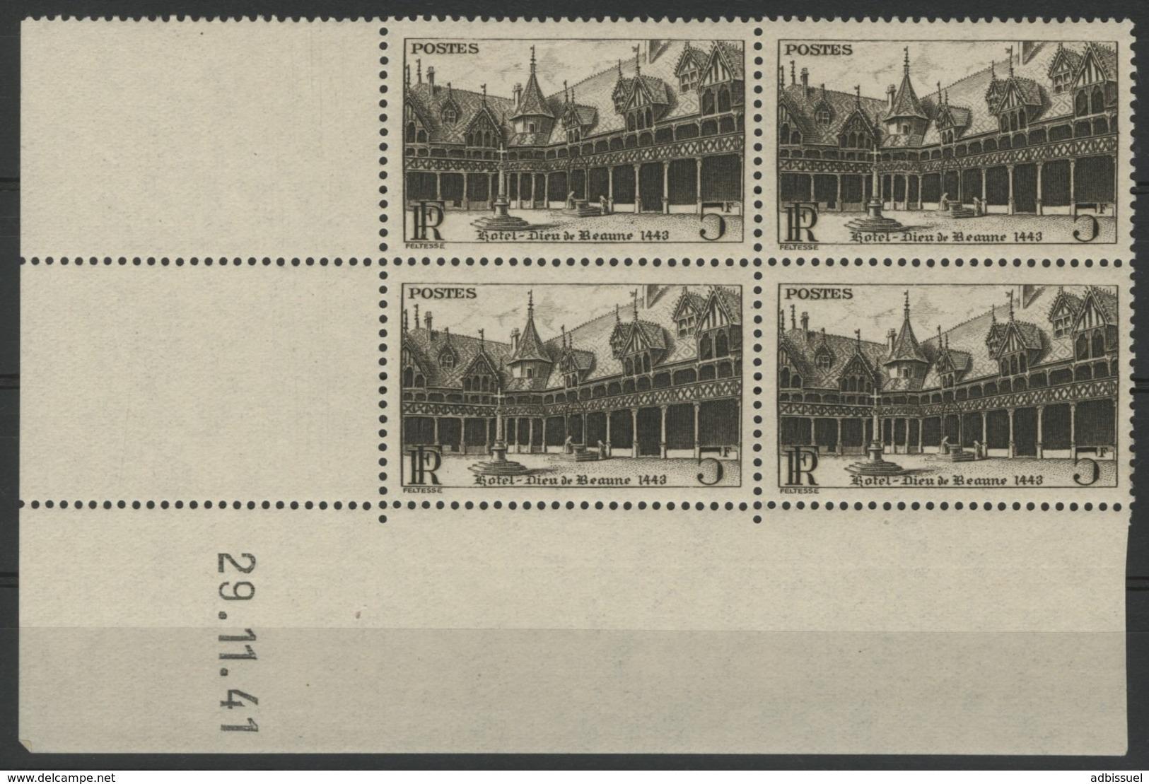 """N° 498 ** (MNH). Coin Daté Du 29/11/41 / Bloc De Quatre """"Hôtel Dieu De Beaunel"""". - 1940-1949"""
