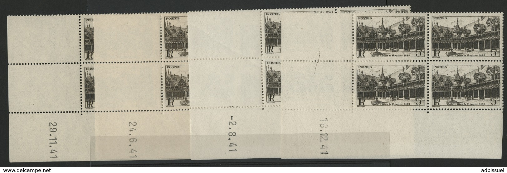 """N° 499 (x16) ** (MNH). Quatre Coins Datés Différents (voir Détail) / Blocs De Quatre """"Hôtel Dieu De Beaune"""". - 1940-1949"""