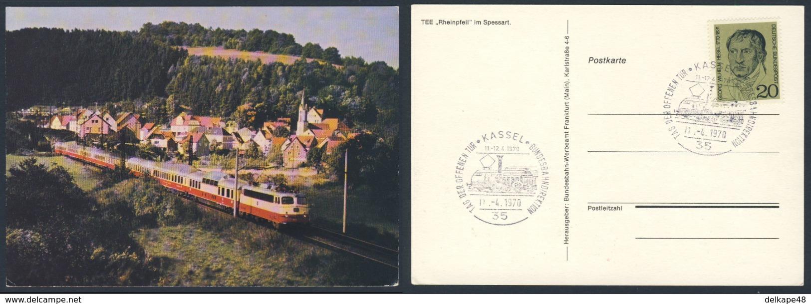 """Deutschland Germany 1970 Postkarte - TEE """"Rheinpfeil"""" - Tag Der Offenen Tür Bundesbahndirektion - Kassel - Treinen"""