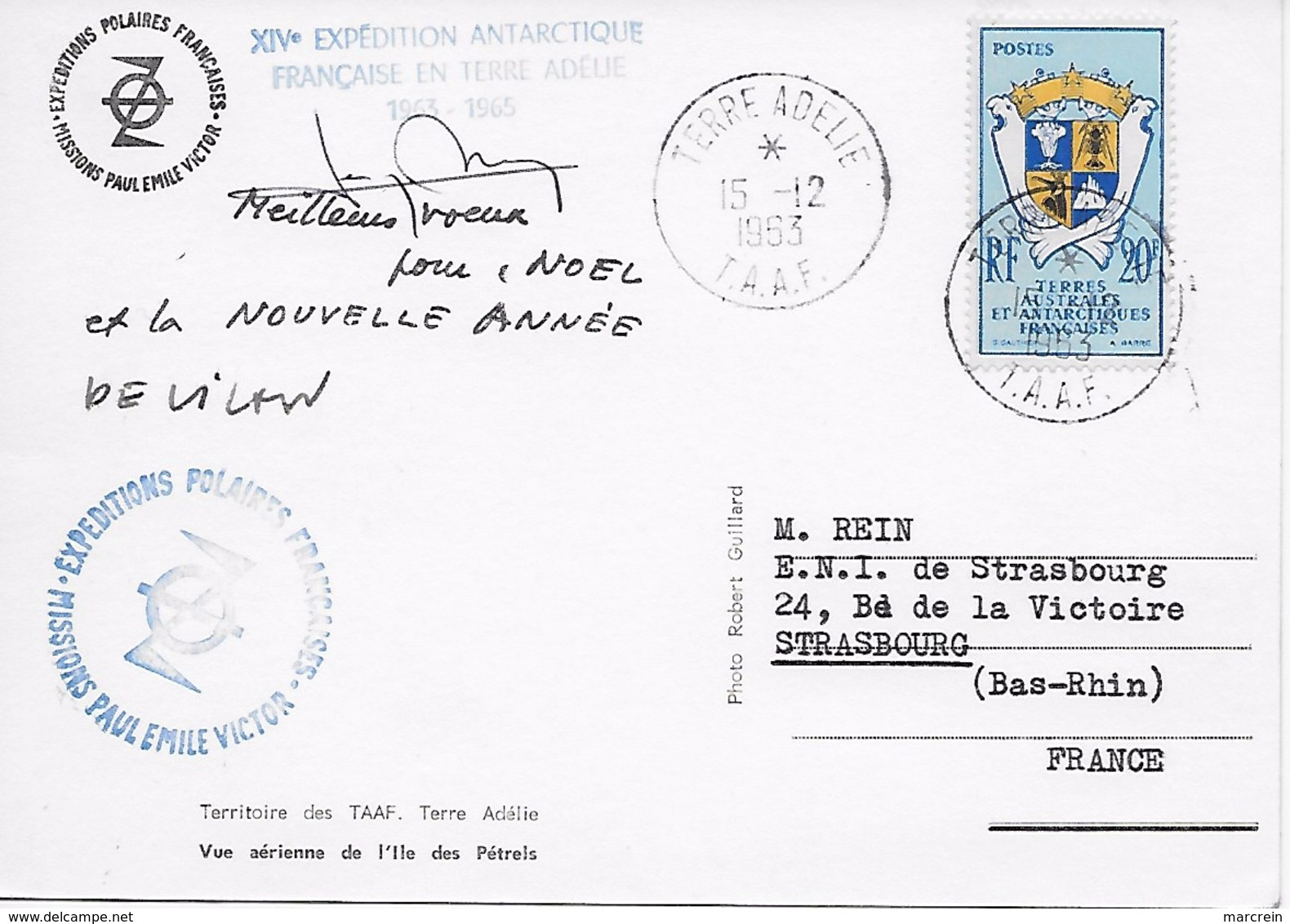 TAAF Carte Postale Vue Aérienne De L'Ile Des Pétrels 1963 - Terres Australes Et Antarctiques Françaises (TAAF)