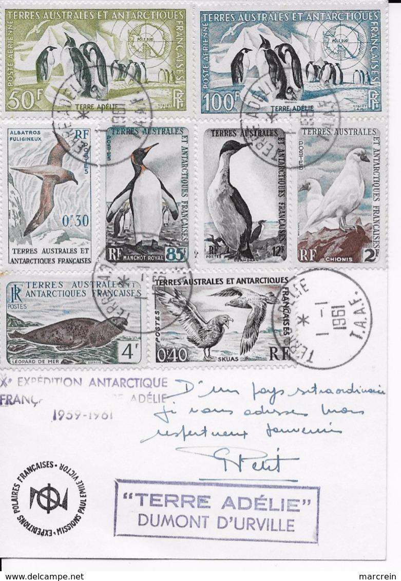 TAAF Carte Postale Terre Adélie 1961 Affranchissement Du 1/1/1961 - Covers & Documents